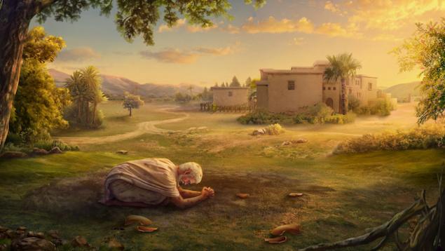 הוא הבין שאלוהים לצדו וצופה בו, והוא ניסה כמיטב יכולתו לחזק עצמו. הוא שוב כרע ארצה ואמר...
